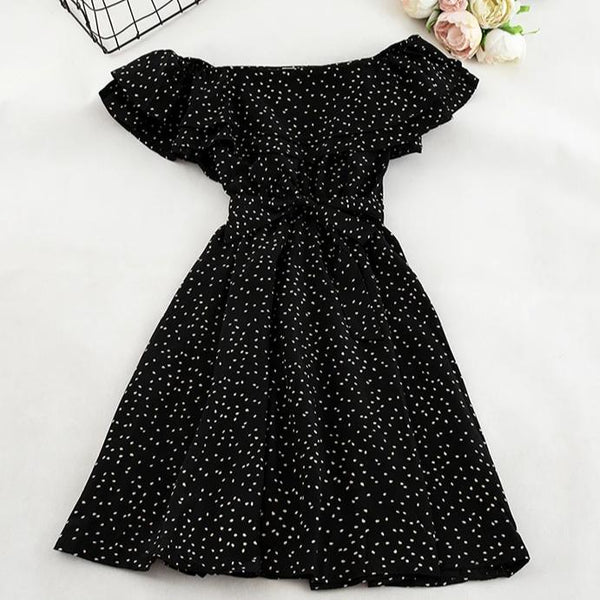 (Pre-Order) Double Ruffles Dots Off-Shoulder Dress in Black