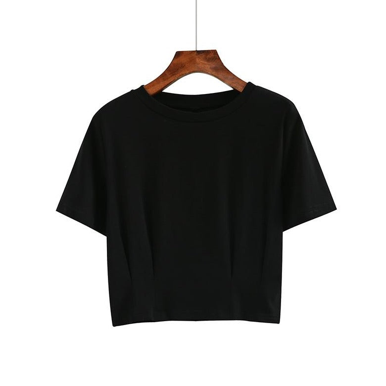 (Pre-Order) Sleeve Round Neck Cropped Top in Black