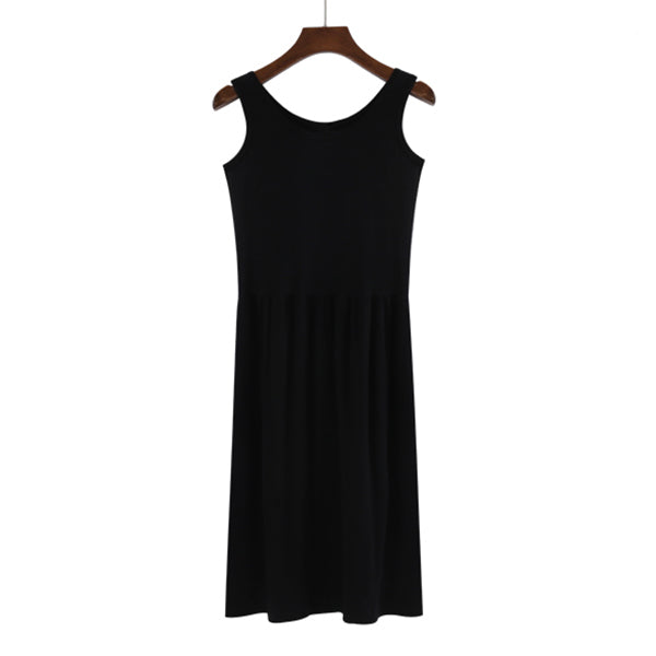 (Pre-Order) Sleeveless Gathered Dress in Black