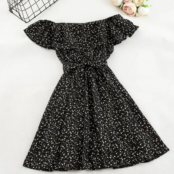 (Pre-Order) Double Ruffles Floral Off-Shoulder Dress in Black