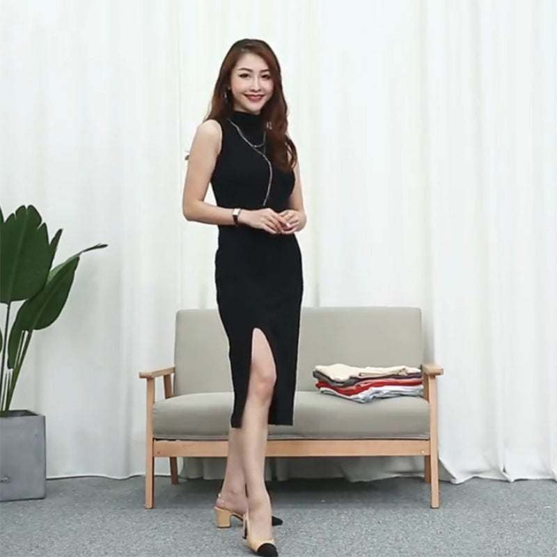 (Pre-Order) Semi High Collar Front Side Slit Midi Dress in Black