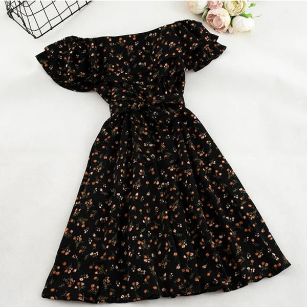 (Pre-Order) Double Ruffles Yellow Floral Off-Shoulder Dress in Black