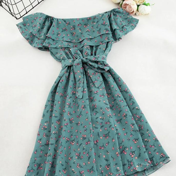 (Pre-Order) Double Ruffles Floral Off-Shoulder Dress in Blue-Green