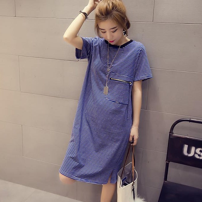 (Pre-Order) Stripes Front Pocket Side Slit Loose Fit Tee Dress in Blue