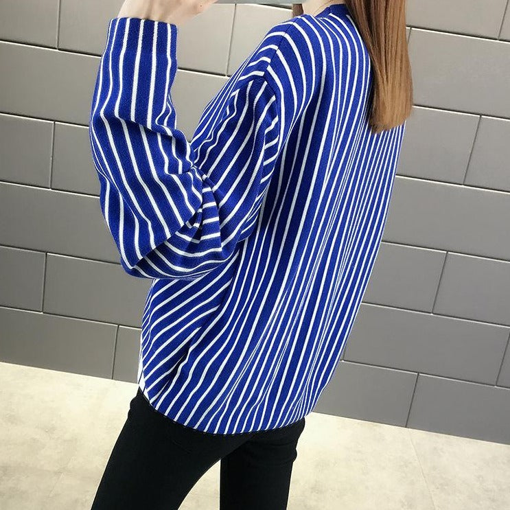 (Pre-Order) Asymmetrical Pinstripes Long Sleeve Top in Blue