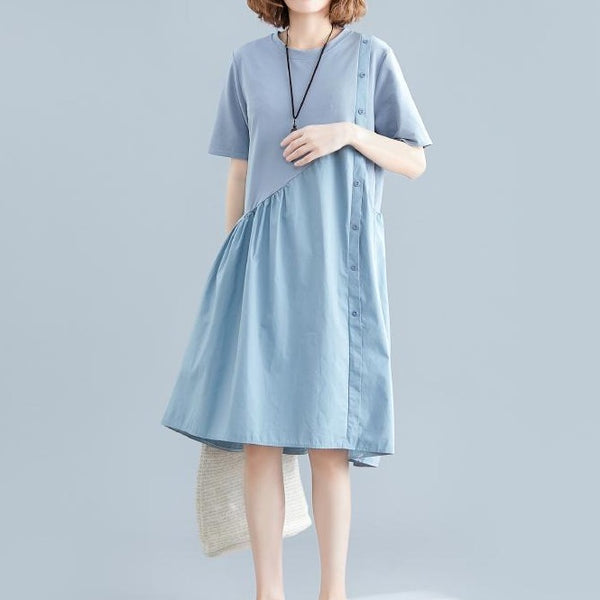 (Pre-Order) Sleeve Side Button Loose Fit Dress in Blue
