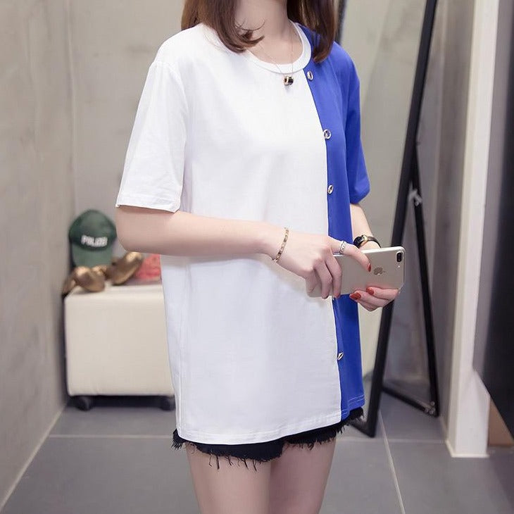 (Pre-Order) Patch Contrast Loose Fit Top in White-Blue