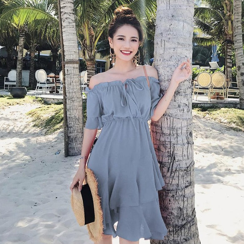 Ruffles Off-Shoulder Asymmetrical Layered Dress In Blue