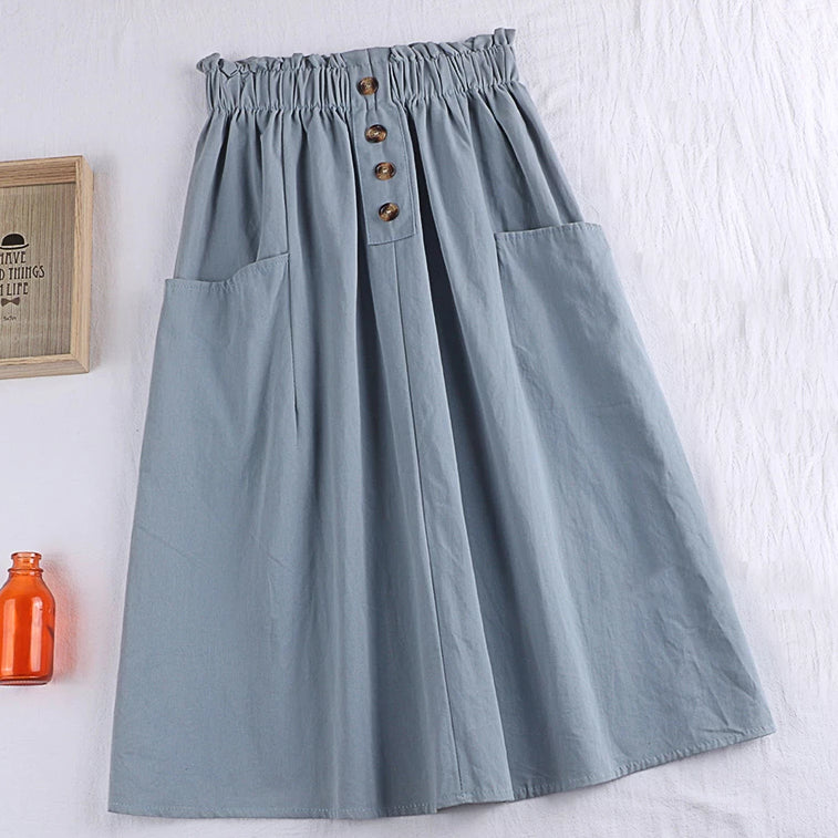 (Pre-Order) Sides Large Pockets High Waist Midi Skirt In Blue