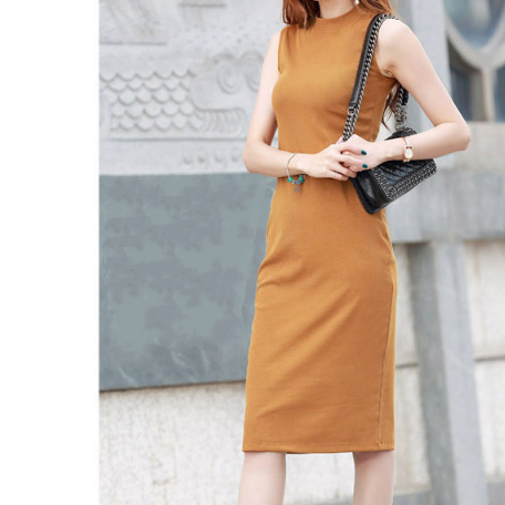 (Pre-Order) Basic Round Neck Sleeveless Bodycon Dress in Brown