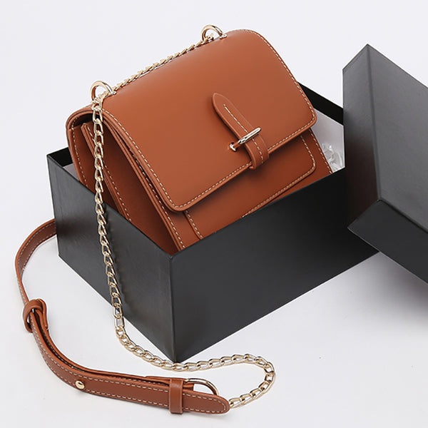 (Pre-Order) Chain Double Layer Rectangular Bag in Brown