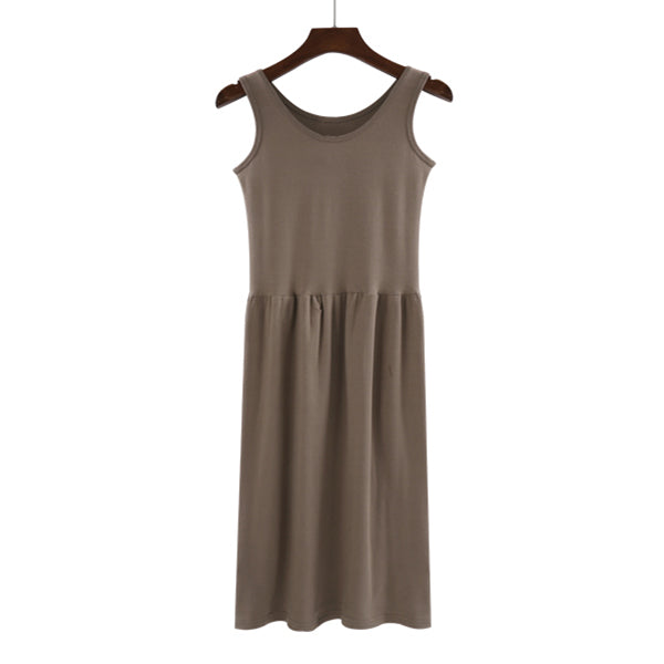 (Pre-Order) Sleeveless Gathered Dress in Brown