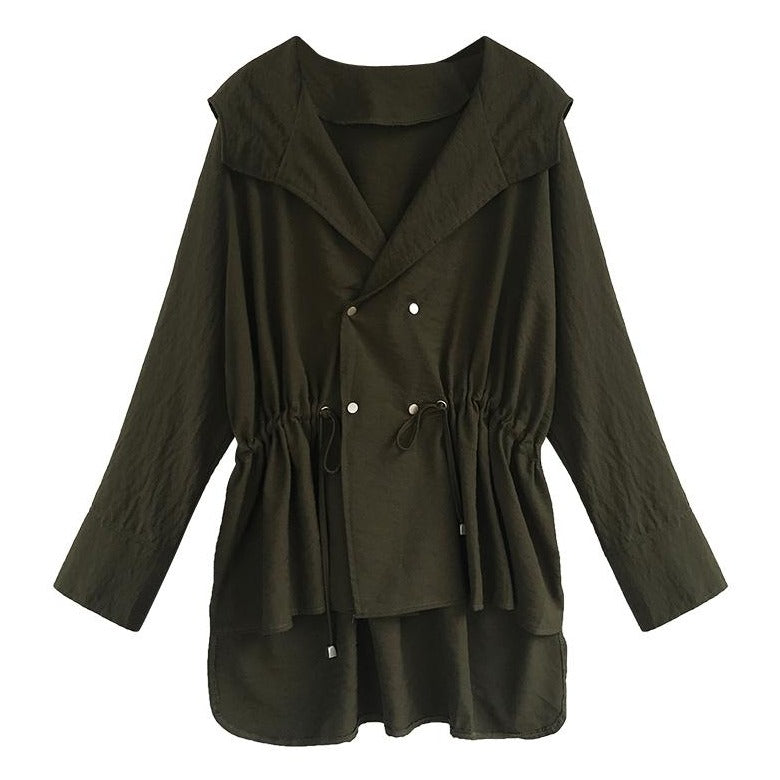 (Pre-Order) Hooded Long Sleeve Windbreaker in Military Green