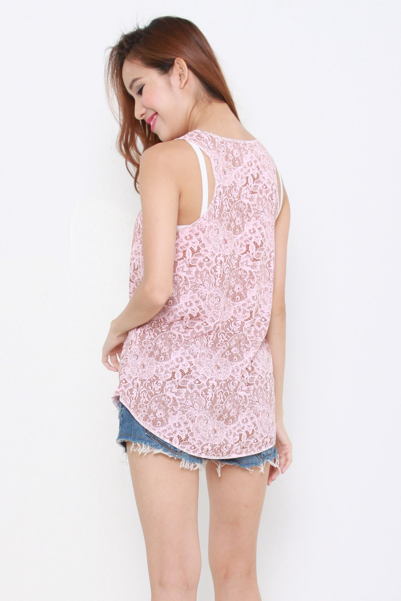 Basic Cotton Tank Top Pink Floral