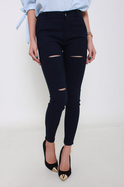Soft Denim Skinny Legging With Ripped Knees in Navy Blue