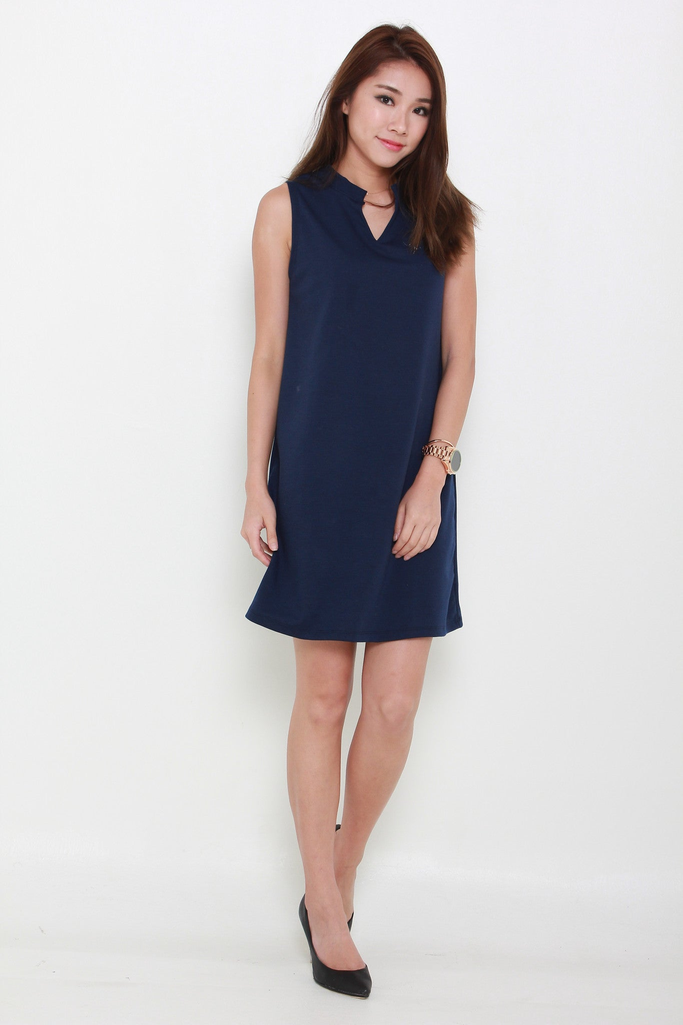 (Backorder - Stocks arriving 28 Sep or earlier) V-Collar Babydoll Dress In Navy Blue