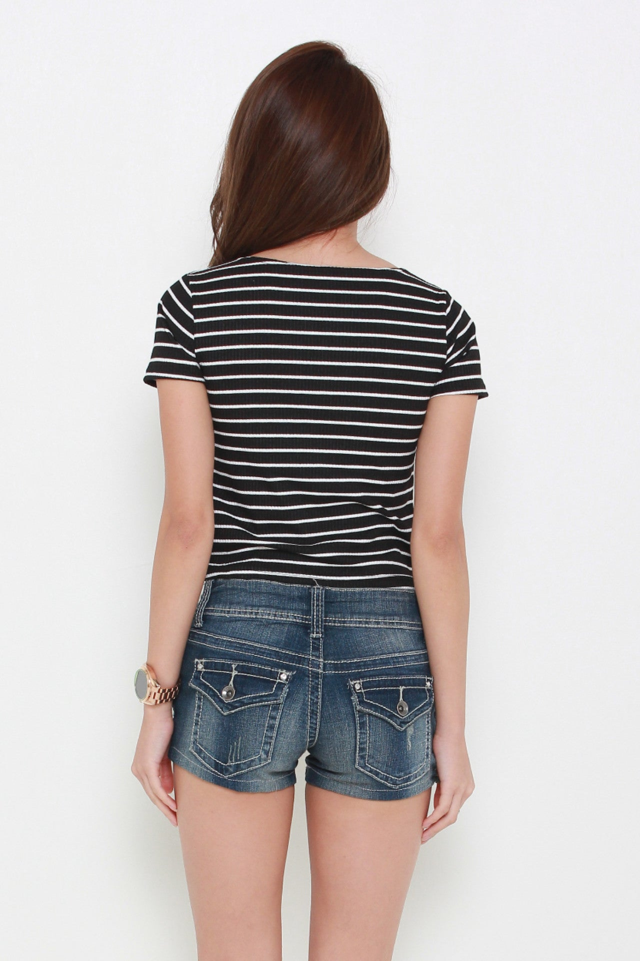 Stripes V-Neck Top in Black