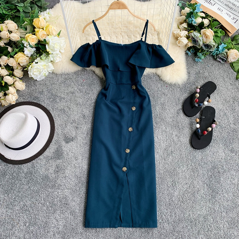 (Pre-Order) Spag Ruffles Cold-Shoulder Button Up Midi Dress in Forest