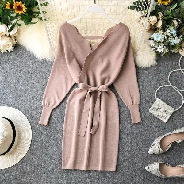 (Pre Order) Wavy V-Neck Long Sleeve Bodycon Dress in Beige