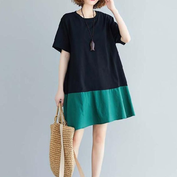 (Pre-Order) Asymmetrical Short Sleeve Loose Fit Dress in Green-Black
