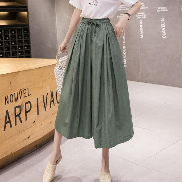(Pre-Order) Ribbon Tie High Waist Loose Fit Wide-Leg Culottes in Green