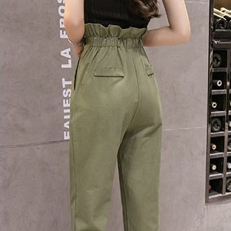 (Pre-Order) High Waist Cropped Pants in Military Green