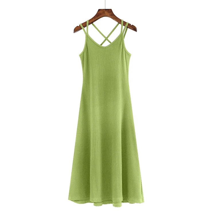 (Pre Order) V Neck Double Spag Cross Back Midi Dress in Green