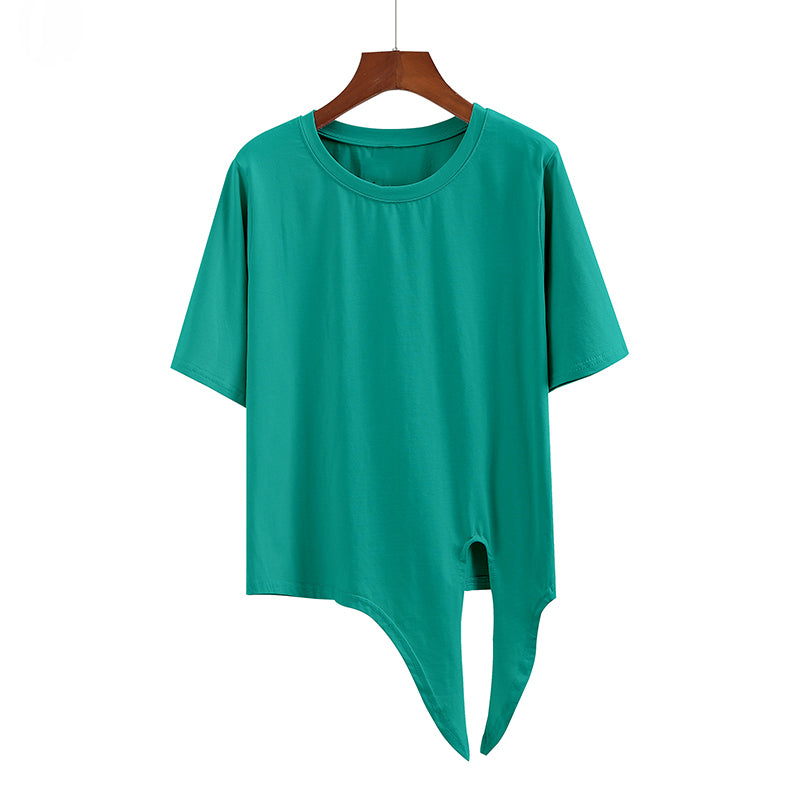 (Pre-Order) Sleeve Round Neck Side Knot Cropped Top in Green