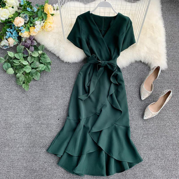 (Pre-Order) V Neck Sleeve Ribbon Asymmetrical Ruffles Midi Dress in Green