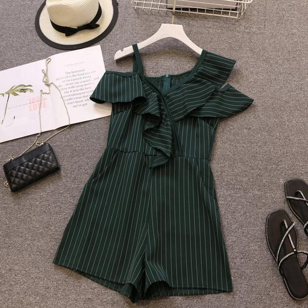 (Pre-Order) Asymmetrical Sleeve Single Cold-Shoulder Ruffles Romper in Green