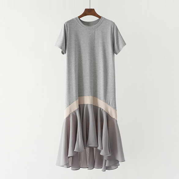 (Pre-Order) Ruffles Asymmetrical Colourblock Dress in Grey