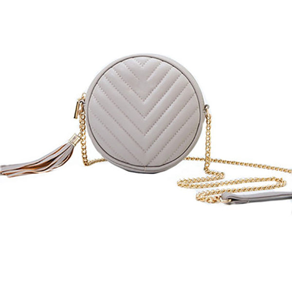 (Pre-Order) Chain Mini Round Tassel Bag in Grey