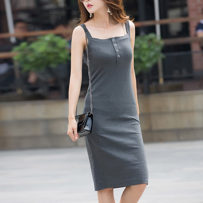 (Pre-Order) Basic Spag Bodycon Midi Dress in Grey