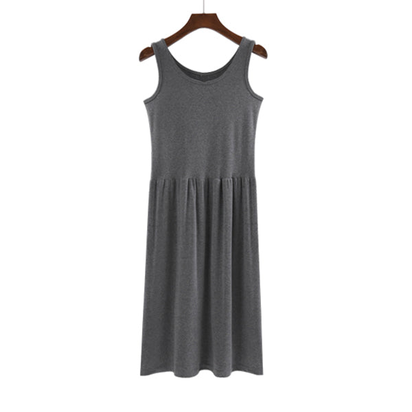 (Pre-Order) Sleeveless Gathered Dress in Grey