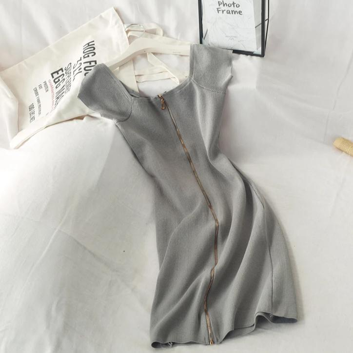 (Pre-Order) Zip Up Bodycon Dress in Grey