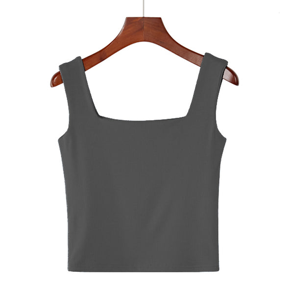 (Pre-Order) Basic Square Neck Sleeveless Cropped Top in Grey