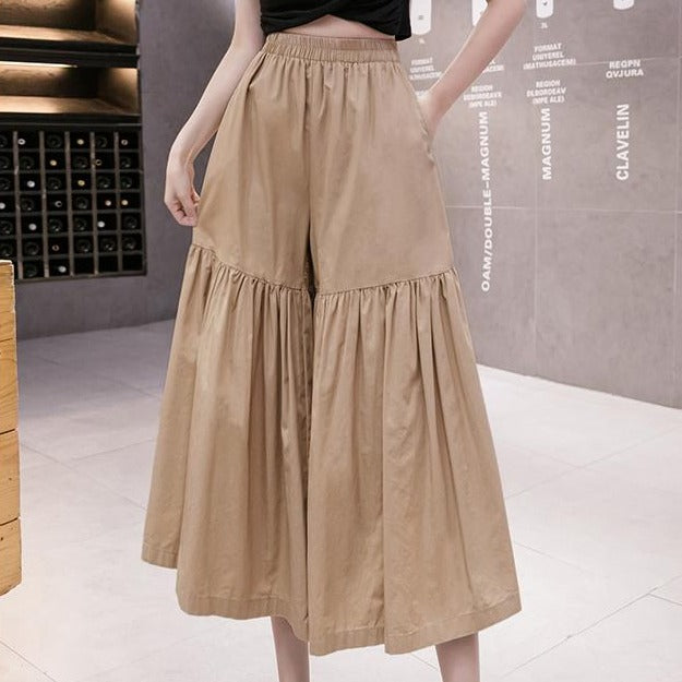 (Pre-Order) High Waist Loose Fit Wide-Leg Pants in Khaki