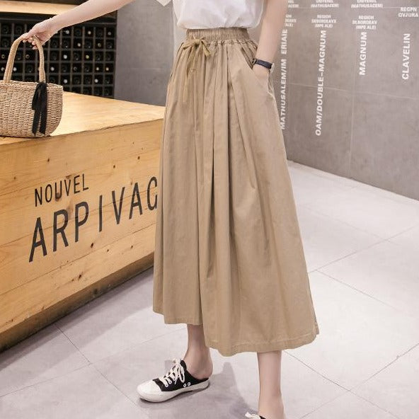 (Pre-Order) Ribbon Tie High Waist Loose Fit Wide-Leg Culottes in Khaki