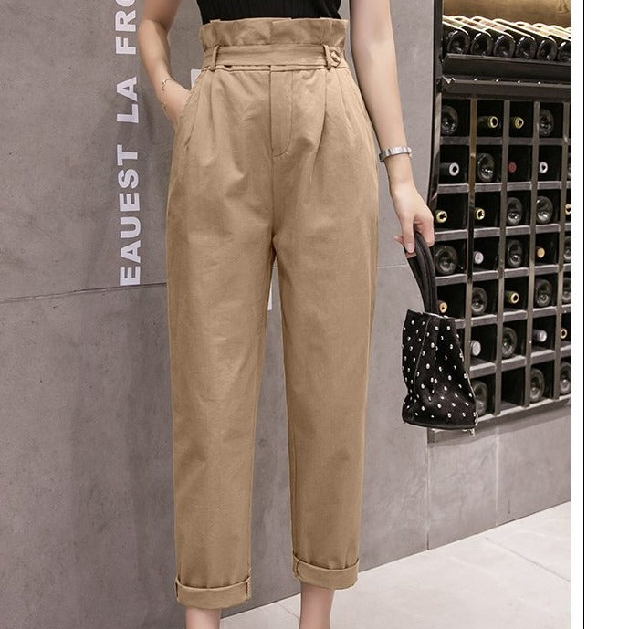 (Pre-Order) High Waist Cropped Pants in Khaki