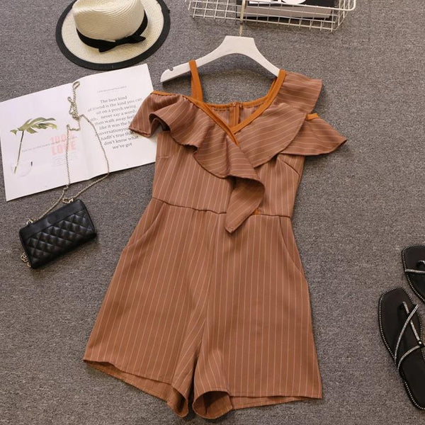 (Pre-Order) Asymmetrical Sleeve Single Cold-Shoulder Ruffles Romper in Khaki-Brown
