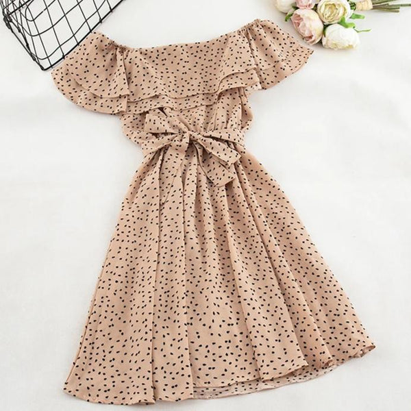(Pre-Order) Double Ruffles Dots Off-Shoulder Dress in Khaki