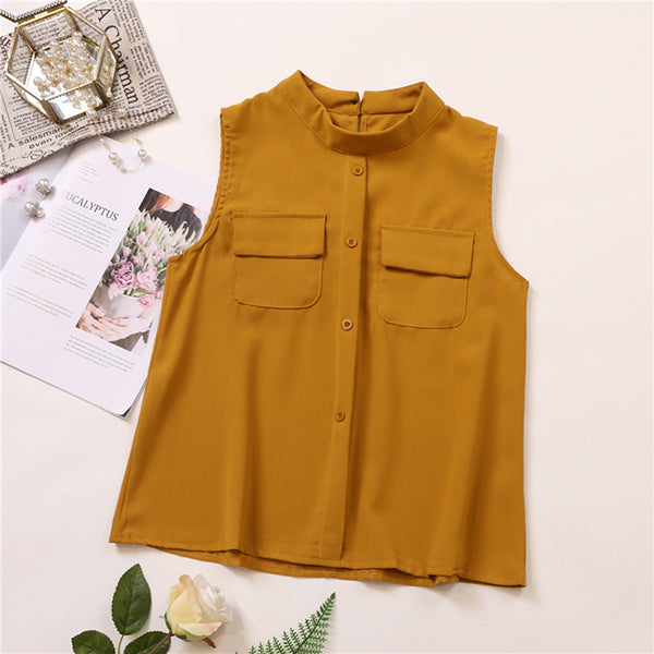 (Pre-Order) Sleeveless Round Collar Pockets Top in Khaki-Brown