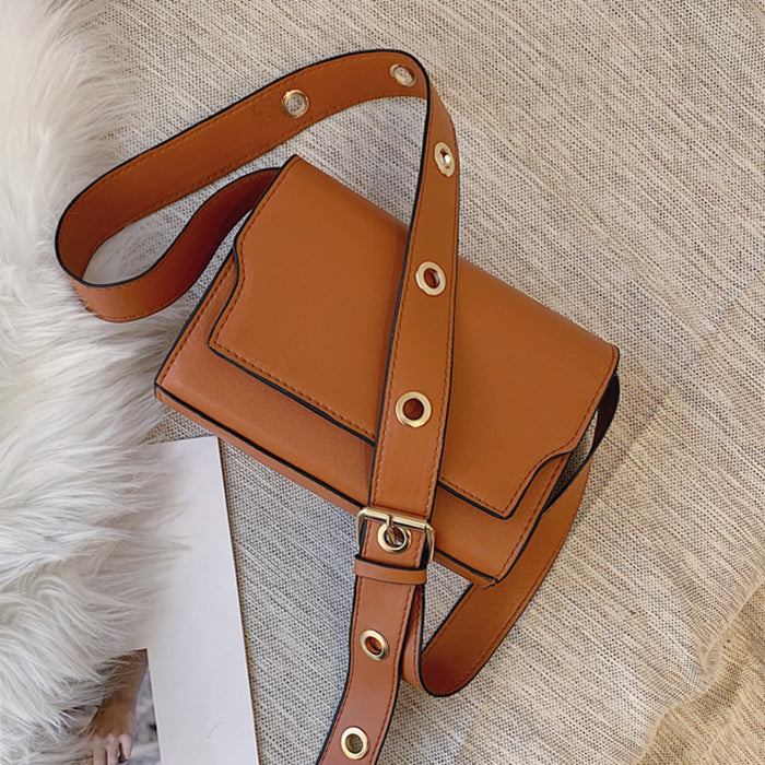 (Pre-Order) Retro Thick Eyelet Crossbody Bag in Light Brown