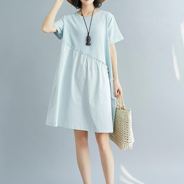 (Pre-Order) Pinstripes Patched Loose Fit Babydoll Dress in Light Blue