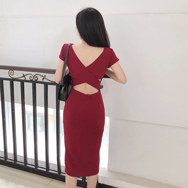 (Pre-Order) Back Cut-Out Side Slit Bodycon Dress in Maroon