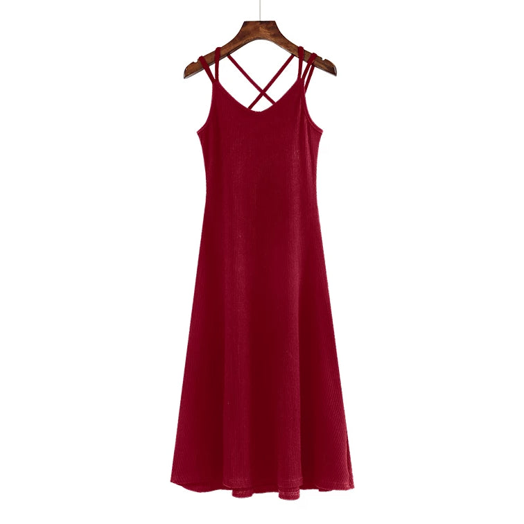 (Pre Order) V Neck Double Spag Cross Back Midi Dress in Maroon