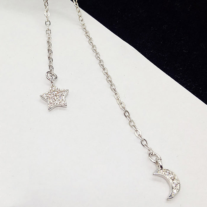 (Pre-Order) Crystal Moon Star Long Necklace in Silver