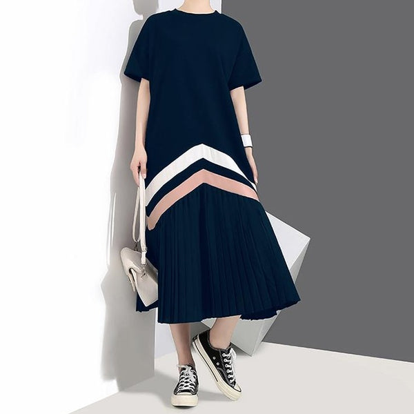 (Pre-Order) Pleated Contrast Patched Loose Fit Midi Dress in Navy Blue