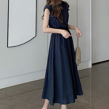 (Pre-Order) Sleeveless Drawstring Flare Maxi Dress in Navy Blue
