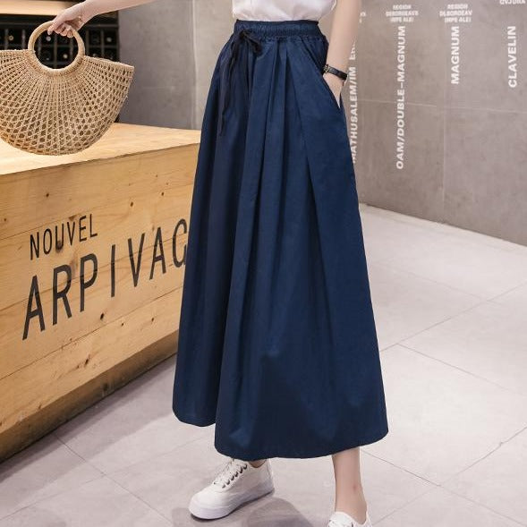 (Pre-Order) Ribbon Tie High Waist Loose Fit Wide-Leg Culottes in Navy Blue